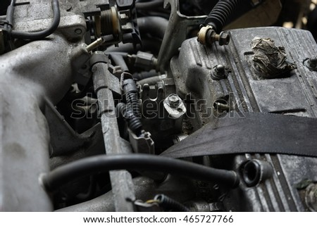 Subject is blurry Car Parts In Auto Parts Stores And Sunlight Background