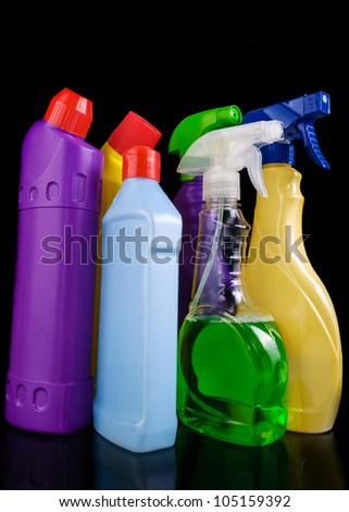 Subjects for sanitary cleaning a house on black background - stock photo