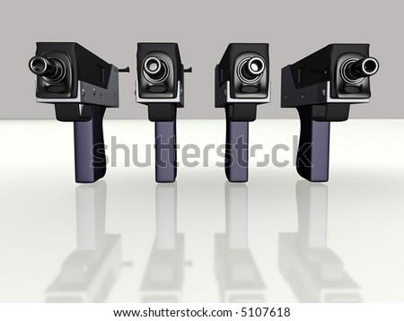 Submachine gun 3d concept illustration - stock photo