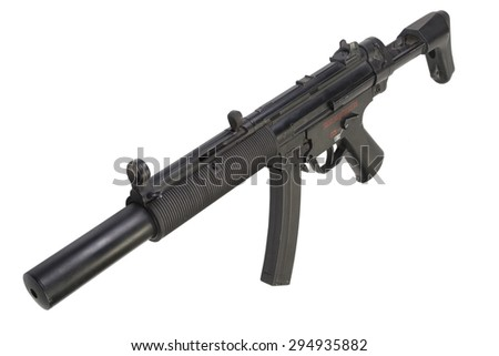 submachine gun MP5 with silencer isolated - stock photo