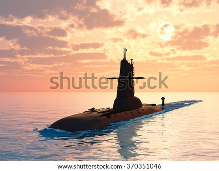 Submarine against the evening sky. - stock photo