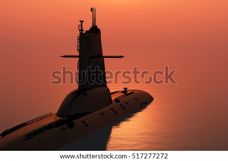 Submarine at sea at sunset.3d render