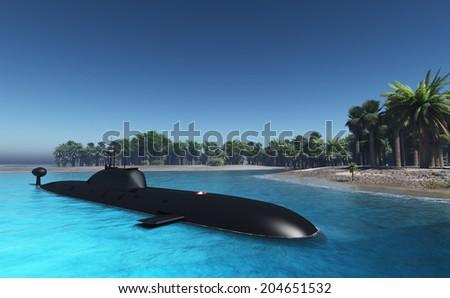 Submarine near the tropical coast. - stock photo
