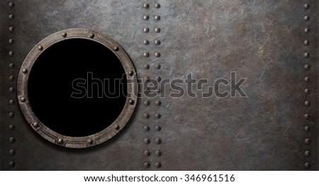 submarine or battleship porthole metal background - stock photo