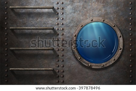 submarine or ship porthole with underwater view - stock photo