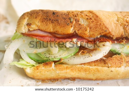 Submarine Sandwich Toasted Hearty Italian Style, simply delicious - stock photo