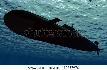 Submarine  under water. - stock photo