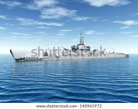 Submarine USS Trigger Computer generated 3D illustration - stock photo