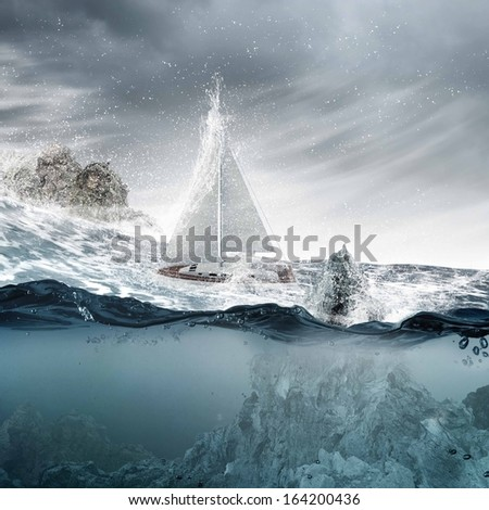 Submerged ocean view with yacht floating above - stock photo