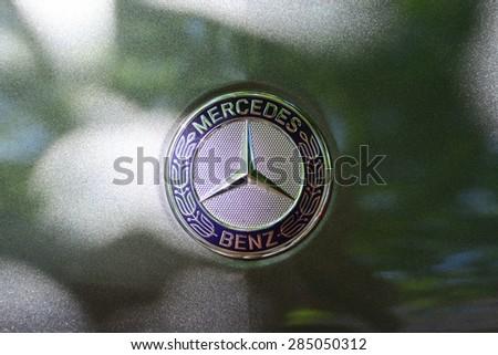 Subotica, Serbia - Jun 7, 2015: Photo shoot of Mercedes B200, close up shot of a Mercedes Benz Sign Star.