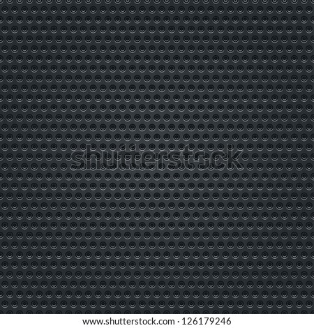 Subtle pattern black background seamless texture perforated metal surface with double circular holes. This image is a bitmap copy my vector illustration - stock photo