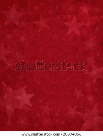 Subtle star shapes on a textured red background.