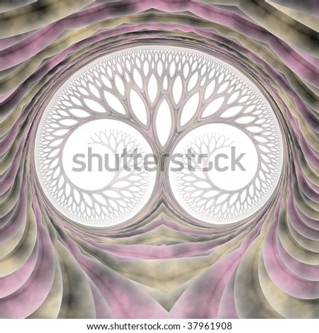 Subtle tree / face abstract fractal on white background (purple, green and black)