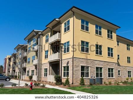 Suburban apartment building - stock photo