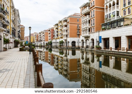 Suburban apartment buildings in hangzhou, China - stock photo
