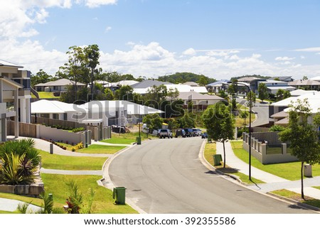Suburban australian street during the day - stock photo