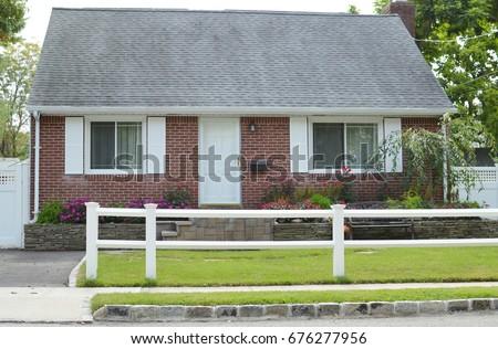 Suburban Home Brick Bungalow Style House USA