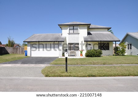 Suburban home residential neighborhood USA clear blue sky