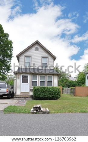 Suburban Home Rubbish curbside Front Yard Lawn Gable Style Architecture residential neighborhood