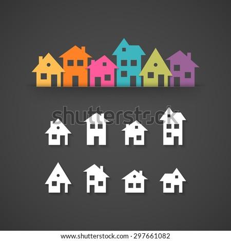 Suburban homes icon set - stock photo