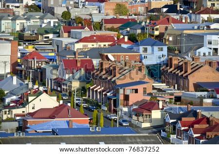 Suburban houses with a range of architectural styles, Hobart, Tasmania, Australia - stock photo