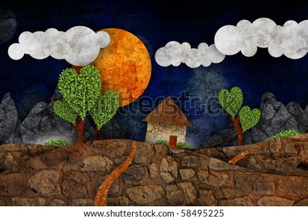Suburban landscape, illustration - stock photo