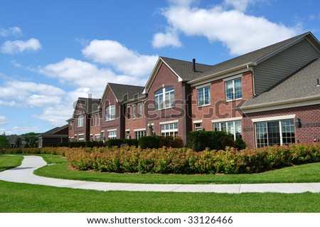 Suburban Luxury Townhomes, real estate, copy space - stock photo
