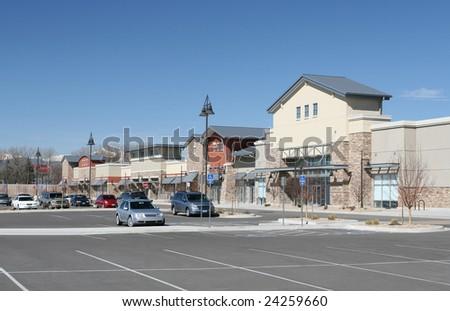 Suburban Shopping Center - stock photo