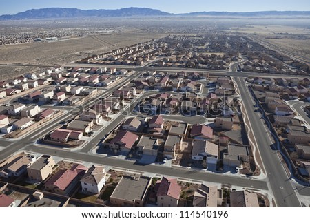 Suburban subdivision aerial in Albuquerque, New Mexico USA. - stock photo