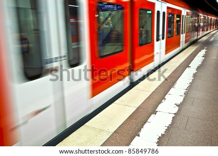 subway in the station with speed - stock photo