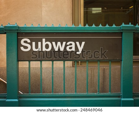 subway sign and entrance - stock photo