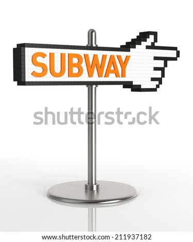 Subway Sign. Digitally Generated Image isolated on white background. 3D Rendering - stock photo