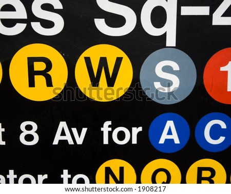 Subway sign in New York City Times Square - stock photo