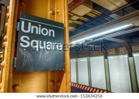 Subway sign in New York City. Union Square Station. - stock photo