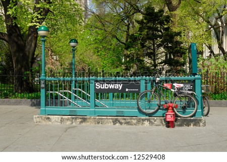 Subway Station in New York City - stock photo