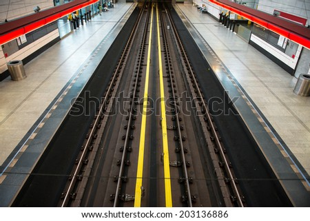 subway station view on rails - stock photo