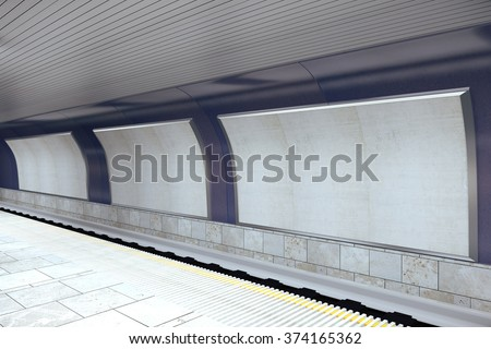 Subway station with blank billboards, mock up 3D Render - stock photo
