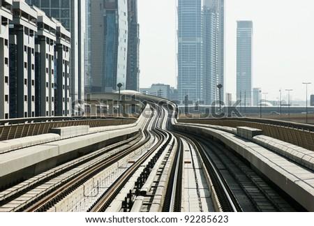 subway tracks in the united arab emirates - stock photo