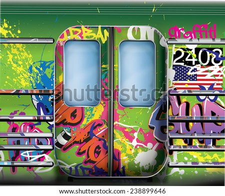 Subway train doors. New york city style graffiti subway underground train doors. Green subway train. - stock photo
