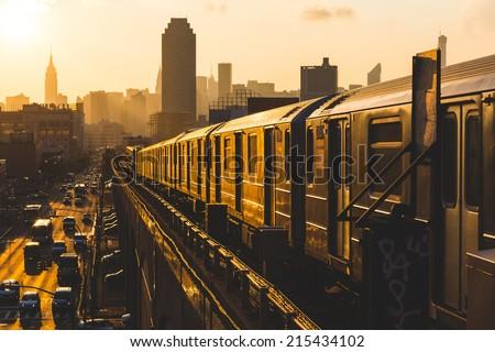 Subway Train in New York at Sunset - stock photo