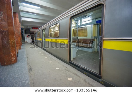 Subway train stay on station doors open