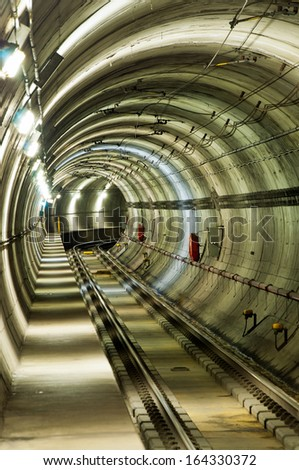 Subway train tunnel - stock photo
