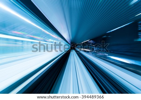 Subway tunnel with Motion blur - stock photo