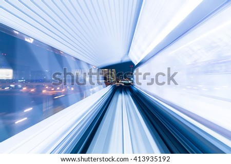 Subway tunnel with Motion blur of a city  - stock photo