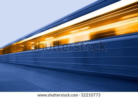 Subway. Underground station. Moving train - stock photo