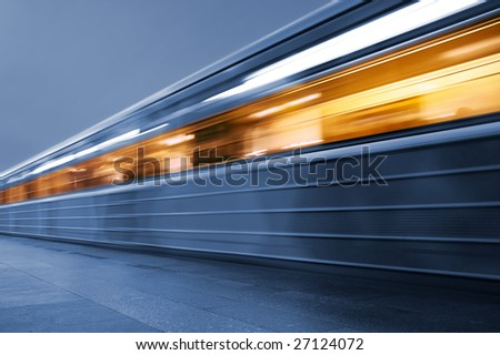 Subway. Underground train, motion blur - stock photo