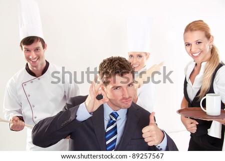 Succesfull restaurant staff - stock photo