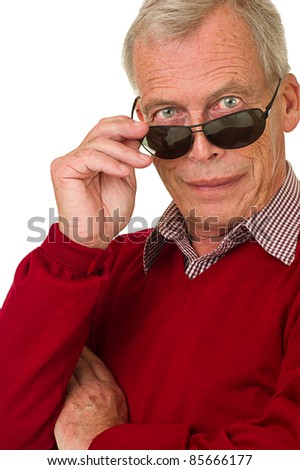 Succesfull senior with sunglasses/shades. Over a white background - stock photo