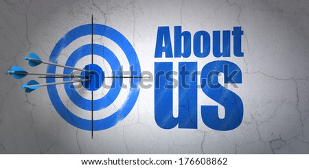 Success advertising concept: arrows hitting the center of target, Blue About Us on wall background, 3d render - stock photo