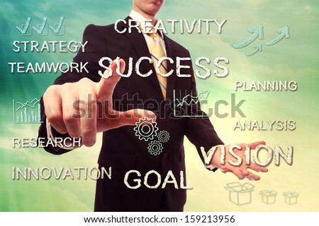 Success and creativity concept with businessman and handwriting cartoon - stock photo